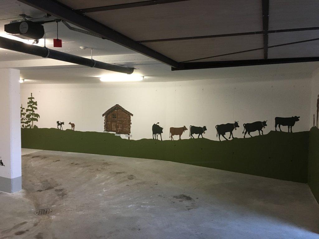 fresque sur murs garage